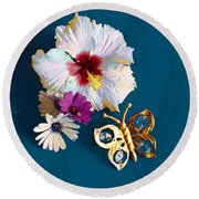 Hybiscus And Butterfly Round Beach Towel