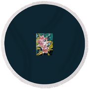 Hybrid Orchids Orchid Flowers Round Beach Towel