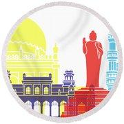 Hyderabad Skyline Pop Round Beach Towel