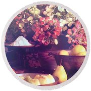 Hydrangeas And Pears Vignette Round Beach Towel