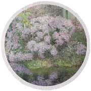 Hydrangeas On The Banks Of The River Lys Round Beach Towel