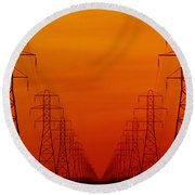 Hydro Power Lines And Towers Round Beach Towel
