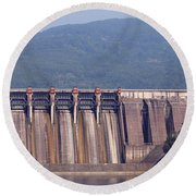 Hydroelectric Power Plants On River Round Beach Towel