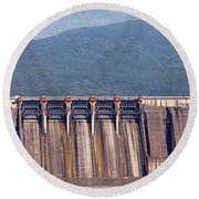 Hydroelectric Power Plants On River Industry Round Beach Towel