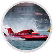hydroplane racing boat on the Detroit river Round Beach Towel