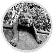 Hyena On The Wall Round Beach Towel