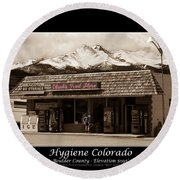 Hygiene Colorado Bw Fine Art Photography Print Round Beach Towel