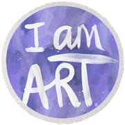 I Am Art Painted Blue And White- By Linda Woods Round Beach Towel