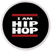 I Am Hiphop Round Beach Towel