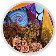 I Am My Sisters Keeper Round Beach Towel
