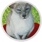 I Am Siamese If You Please Round Beach Towel