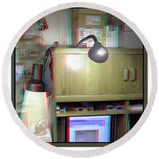 I C The Light - Use Red-cyan 3d Glasses Round Beach Towel