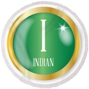 I For Indian Round Beach Towel