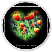 I Heart Tulips - Black Background Round Beach Towel
