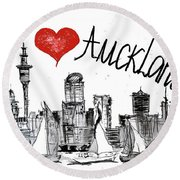 I Love Auckland  Round Beach Towel