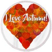 I Love Autumn Red Aspen Leaf Heart 1 Round Beach Towel