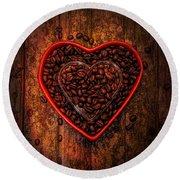 I Love Coffee 4 Round Beach Towel