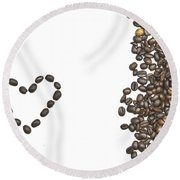 I Love Coffee Round Beach Towel
