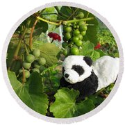 I Love Grapes Says The Panda Round Beach Towel