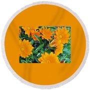 I Love Orange Flowers Round Beach Towel