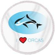 I Love Orcas Round Beach Towel