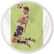 I Love Soccer Round Beach Towel