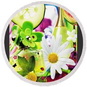 I Love Spring_with Border Round Beach Towel