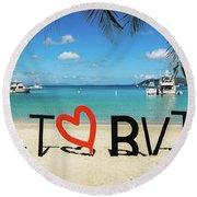 I Love The Bvi Round Beach Towel