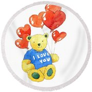 I Love You Bear Round Beach Towel