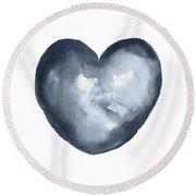 Blue Heart, I Love You Quote Men Women Gift Idea Heart Minimalist Picture Wall Decor Clipart  Round Beach Towel