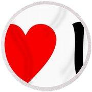 I Love You T-shirt Round Beach Towel
