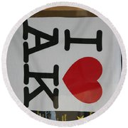 I Luv Alaska  Logo Round Beach Towel