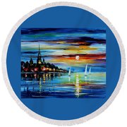 I Saw A Dream - Palette Knife Oil Painting On Canvas By Leonid Afremov Round Beach Towel