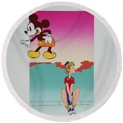 I Saw The Figure Five In Gold IIi Round Beach Towel