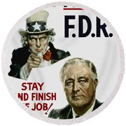 I Want You Fdr  Round Beach Towel