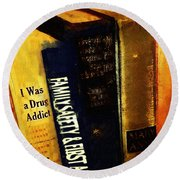 I Was A Drug Addict And Other Great Literature Round Beach Towel