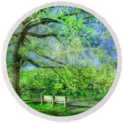 I Will Wait For You In Summer Round Beach Towel