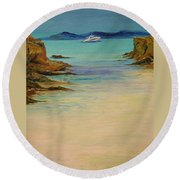Ibiza In The Distance.... Round Beach Towel