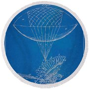 Icarus Airborn Patent Artwork Round Beach Towel by Nikki Marie Smith