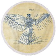 Icarus Human Flight Patent Artwork - Vintage Round Beach Towel