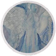 Ice Blue Angel Round Beach Towel