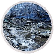 Ice Blue Forest Round Beach Towel