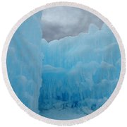 Ice Castles In Lincoln New Hampshire -1 Round Beach Towel