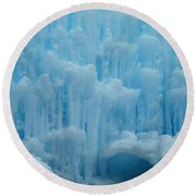 Ice Castles In Lincoln New Hampshire -2 Round Beach Towel