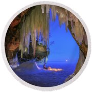 Ice Cave Setting Full Moon Serenity Round Beach Towel