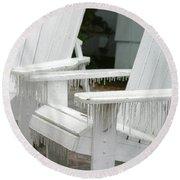 Ice-coated Chairs Round Beach Towel