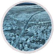 Ice Cracks And Bubbles Round Beach Towel