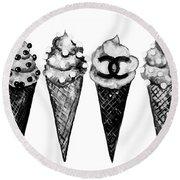 Ice Cream Black ,chanel Round Beach Towel