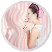 Ice Cream Pin-up Poster Girl Licking Waffle Cone Round Beach Towel