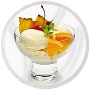 Ice Cream With Fruit Round Beach Towel by Elena Elisseeva